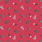 Lewis & Irene - Small Things World Animals - 6878 - North American on Red - SM22.3 - Cotton Fabric